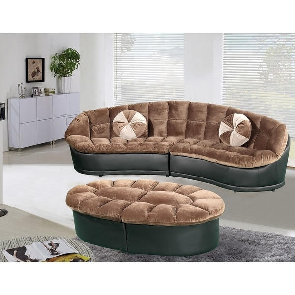 Papasan Modern Style Velvet 2 Piece Sectional Sofa With Ottoman Set