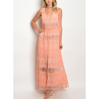 JED Women's Embroidered Peach V-neck Lace Dress