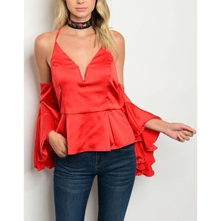 JED Women's Off-Shoulder Bell Sleeve Flared Top with Adjustable Straps
