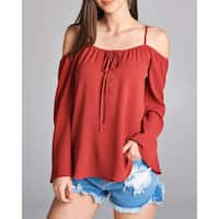 JED Women's Off-Shoulder Bell Sleeve Lace Up Top