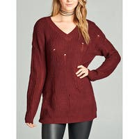 JED Women's Oversized Distressed V-neck Sweater