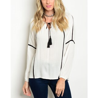 JED Women's Off-White Relaxed Fit Long Sleeve Peasant Blouse