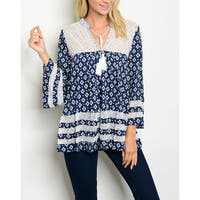 JED Women's Relaxed Fit Bell Sleeve Printed Navy Tunic Top