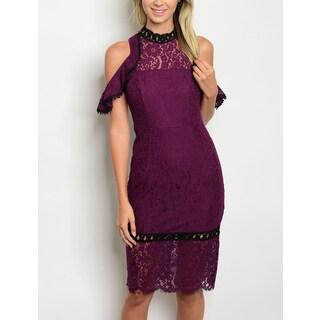 JED Women's Cold Shoulder Mock Neck Lace Dress