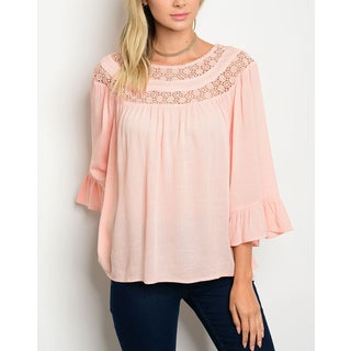 JED Women's Three-Quarter Bell Sleeve Cotton Top with Crocheted Neckline