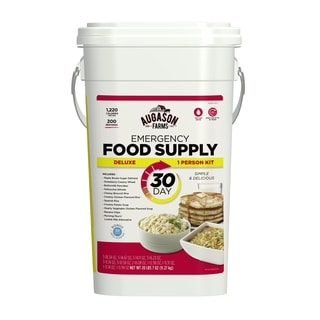 Augason Farms Deluxe Emergency 30-Day Food Supply (1 Person), 200 Servings, 36,600 Calories, Net Weight 20 lbs 7 oz