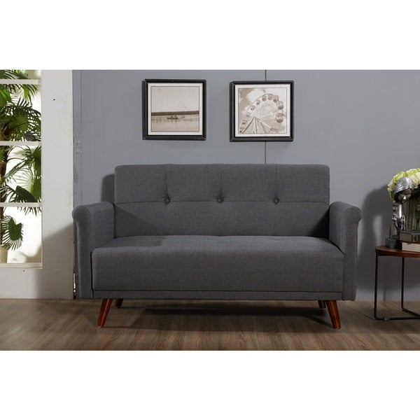 Shop Scully Modern Linen Fabric Button Tufted Upholstered Loveseat