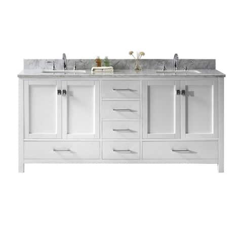 Caroline Avenue 60-inch Double Vanity White Marble Top No Mirror