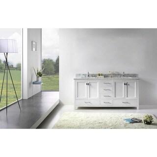 Caroline Avenue 72-inch White Marble Double Bathroom Vanity No Mirror