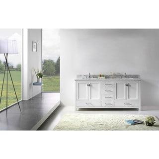 Link to Caroline Avenue 72-inch White Marble Double Bathroom Vanity No Mirror Similar Items in Bathroom Vanities