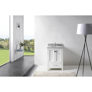 Virtu USA Caroline Avenue 24-inch Round White Marble Single Bathroom Vanity Set without Mirror