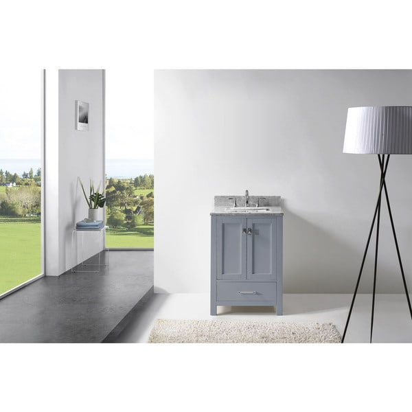 Virtu USA Caroline Avenue 24-inch Square Single Bathroom Vanity Set with No Mirror