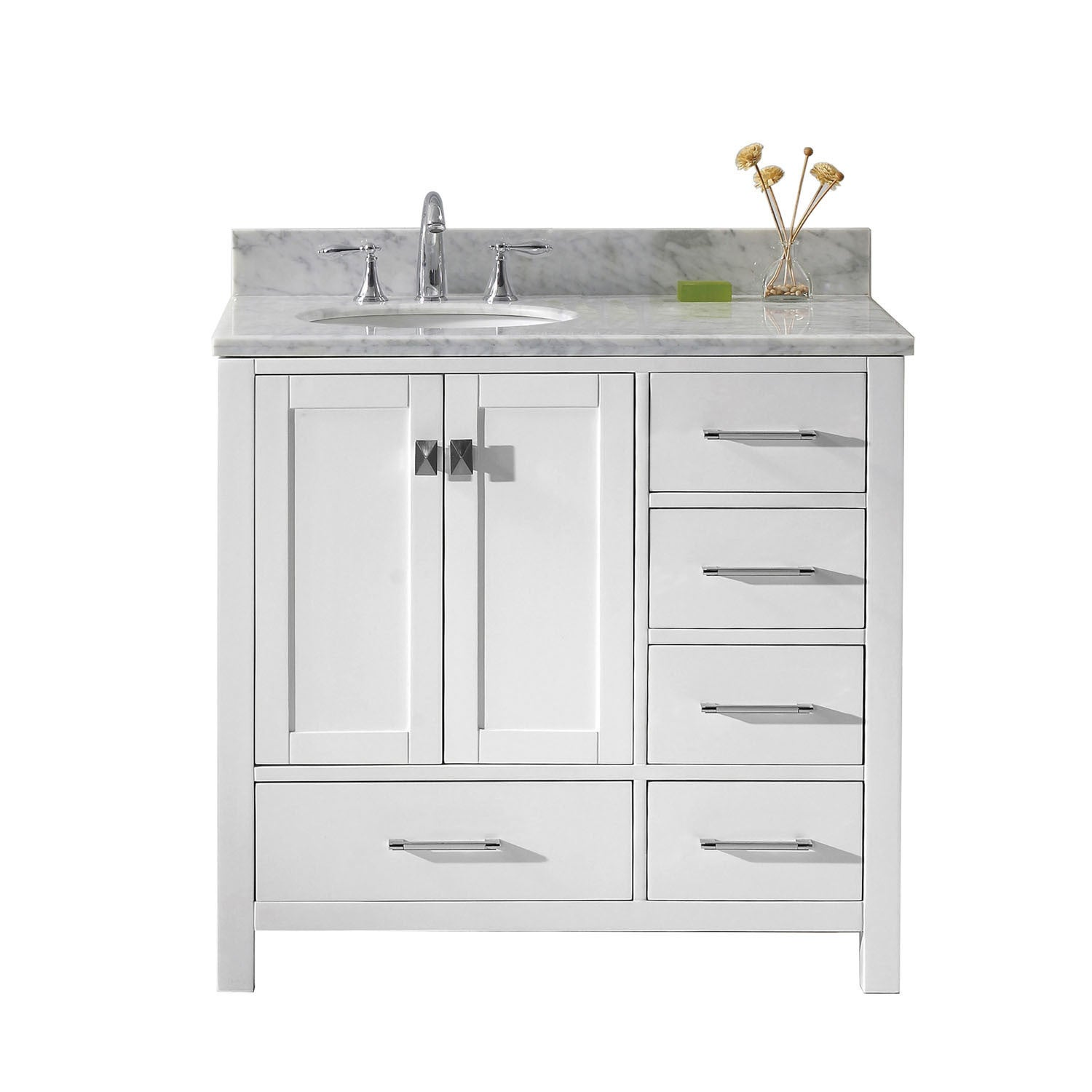 Caroline Avenue 36 Inch White Marble Single Bathroom Vanity No