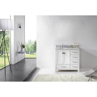 Caroline Avenue 36-in White Marble Single Bathroom Vanity No Mirror
