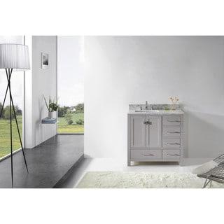 Virtu USA Caroline Avenue 36-inch Square Single Bathroom Vanity Set with No Mirror