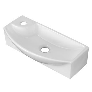 17.75-inches wide Above Counter White Vessel For 1 Hole Left  Drilling