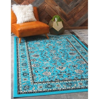 Kashan Floral Turquoise Area Rug (5' x 8')