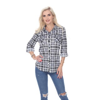 White Mark Oakley Plaid Top (Option: Pink)