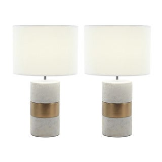 Urban Designs Elegant Concrete With Gold Accent 24-inch Table Lamp (Set of 2)