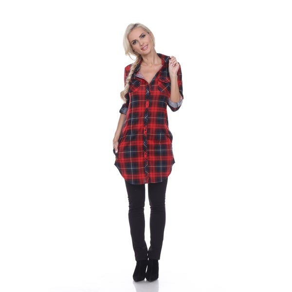 White Mark Piper Plaid Tunic. Opens flyout.
