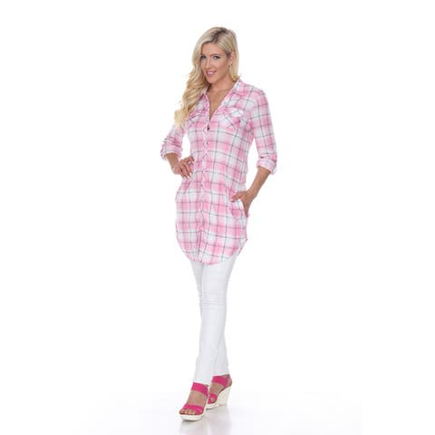 White Mark Piper Plaid Tunic