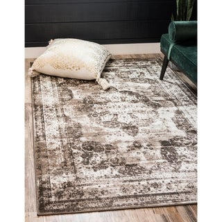 Sofia Brown Floral Area Rug (8' x 10')
