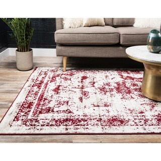 Sofia Red and Ivory Floral Area Rug (8'x10')