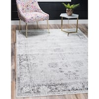 Unique Loom Casino Sofia Grey Floral Area Rug - 8' x 10'