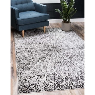 Sofia Dark Grey Geometric Area Rug (8'x10')