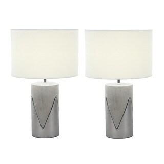 Urban Designs Elegant Concrete Silver Outline 24-inch Table Lamp (Set of 2)