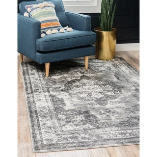 Sofia Grey Geometric Area Rug (8' x 10')