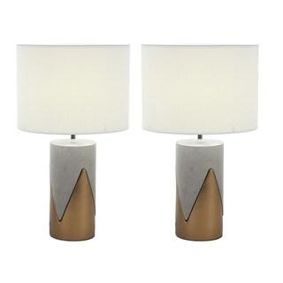 Urban Designs Elegant Concrete Gold Outline 24-inch Table Lamp (Set of 2)