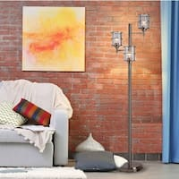"Catalina Lighting 20442-000 Contemporary Leon 3-Light Ribbed Glass Floor Lamp with Adjustable Heads, 68""H, Brushed Nickel"