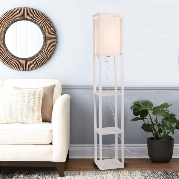 Catalina 17559-013 Finley 62.75-Inch Faux Wood Square Etagere Floor Lamp White