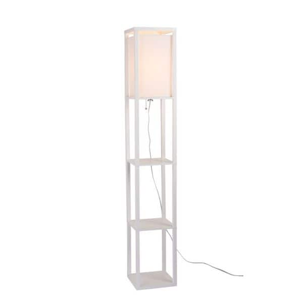 White Faux Wood Square Floor Lamp