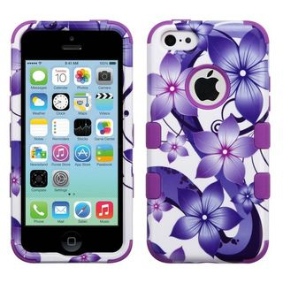 Insten Purple Hibiscus Flower Romance Tuff Hard Snap-on Dual Layer Hybrid Case Cover For Apple iPhone 5C