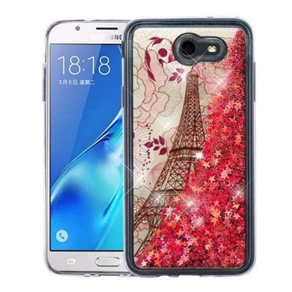 shop insten rose gold eiffel tower quicksand hard snap on case cover for samsung galaxy j7 2017