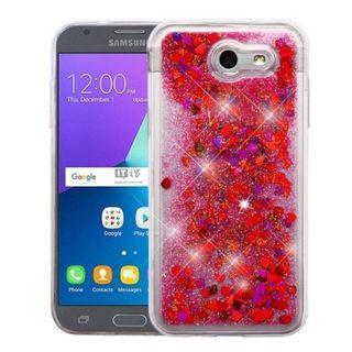 Insten Multi-Color Hearts Quicksand Hard Snap-on Case For Samsung Galaxy Amp Prime 2/ Express Prime 2/ J3 (2017)/ J3 Emerge