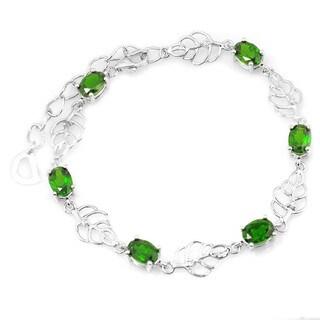 De Buman Sterling Silver Chrome Diopside & White Topaz Bracelet, 8.3''