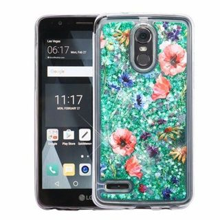 Insten Colorful Watercolor Flowers Quicksand Hard Snap-on Case Cover For LG Stylo 3 Plus