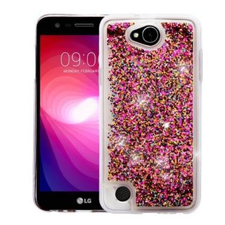 Insten Hot Pink Polygons Quicksand Hard Snap-on Case Cover For LG X Power 2
