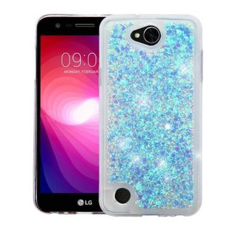 Insten Blue Hearts Quicksand Hard Snap-on Case Cover For LG X Power 2