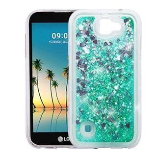 Insten Green Hearts Quicksand Hard Snap-on Case Cover For LG G6