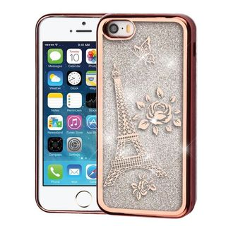 Insten Rose Gold/ Silver Eiffel Tower Quicksand Hard Snap-on Chrome Case Cover For Apple iPhone 5/ 5S/ SE