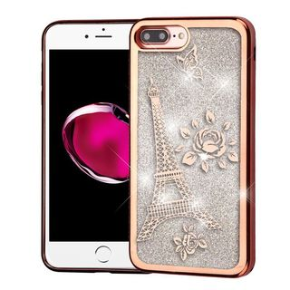 Insten Rose Gold/ Silver Eiffel Tower Quicksand Hard Snap-on Chrome Case Cover For Apple iPhone 7 Plus