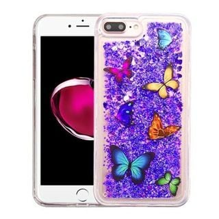 Insten Purple Butterfly Dancing Quicksand Hard Snap-on Case Cover For Apple iPhone 7 Plus
