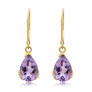 Divina 10K Yellow Gold Amethyst Gemstone Dangle Earrings.