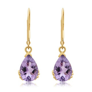 Divina 10K Yellow Gold Amethyst Gemstone Dangle Earrings.