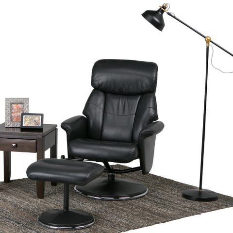 WYNDENHALL Oxford 31 inch Wide Contemporary Euro Recliner in Black Faux Air Leather