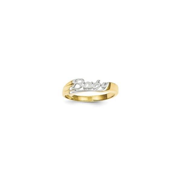 10 Karat Gold Rhodium Baby Ring Free Shipping Today Overstock